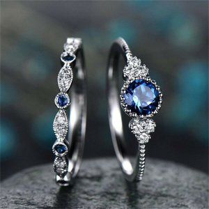 NWOT Round Cut Blue Sapphire Ring Set